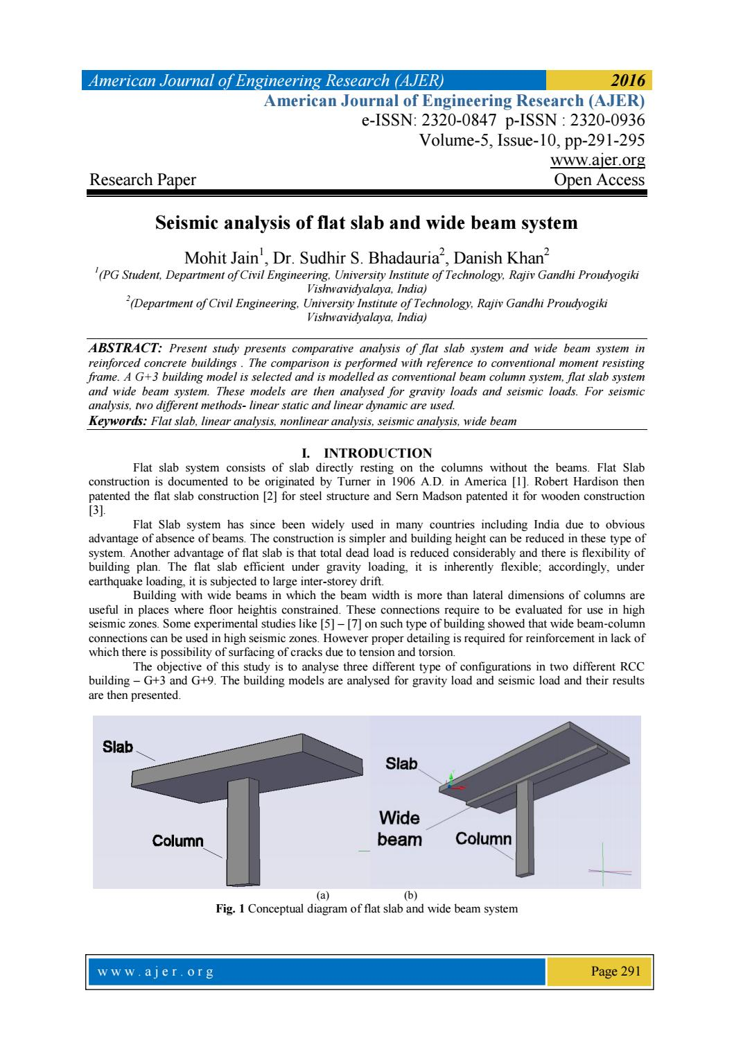 Seismic analysis of flat slab and wide beam system by AJER