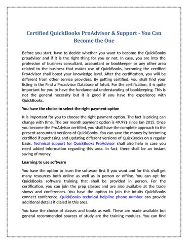 Certified Quickbooks Proadvisor Support You Can Become The One
