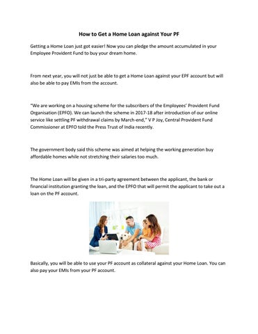 How To Get A Home Loan Against Your Pf By Shreekant Rao Issuu