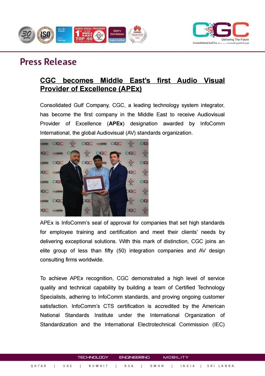 Cgc Becomes Middle Easts First Audio Visual Provider Of Excellence