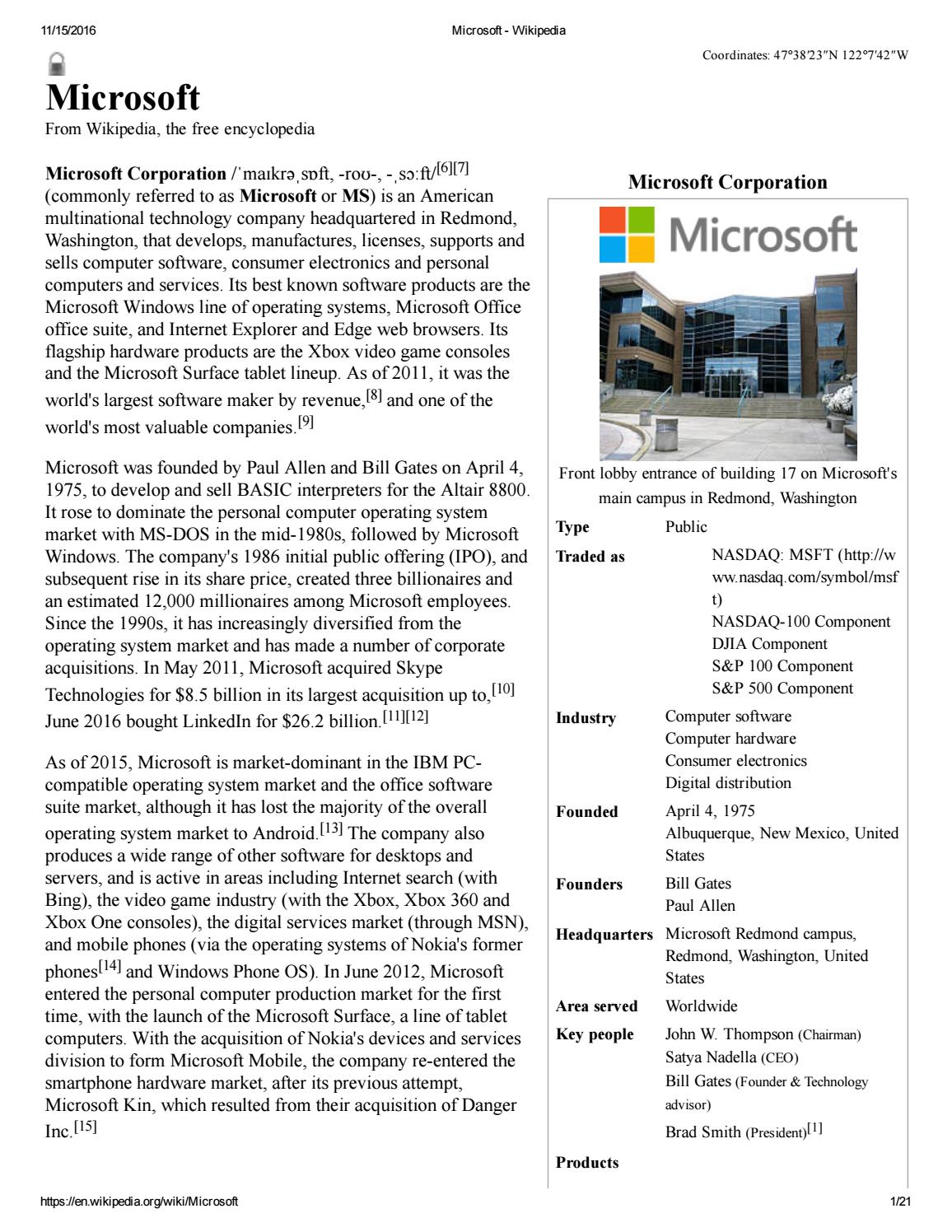 Microsoft Corporation(commonly Called Microsoft Or MS) Can
