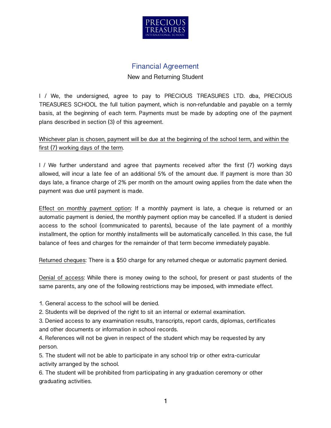 Financial Agreement By Precious Treasures International School Issuu