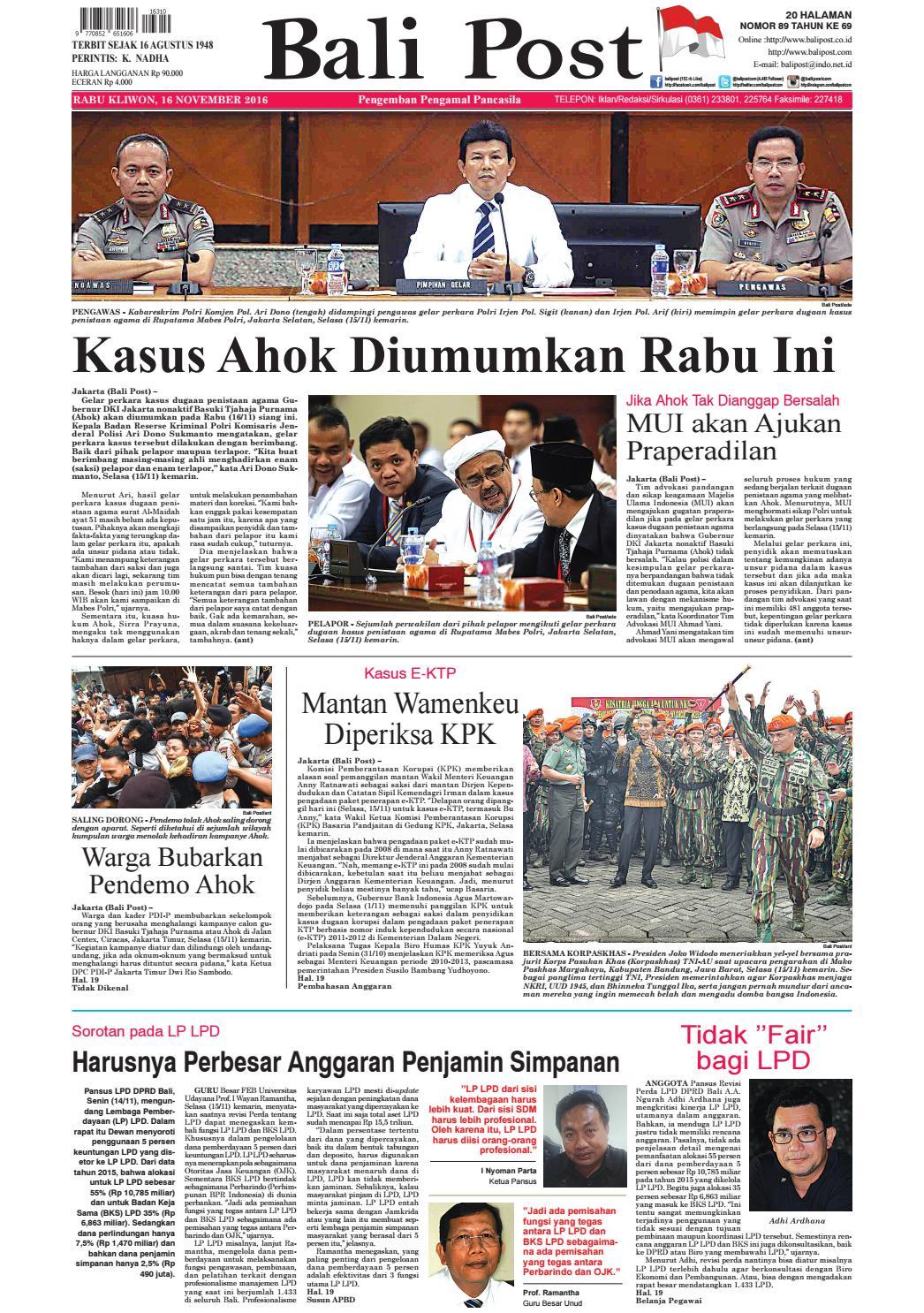 Edisi 16 November 2016 Balipostcom By E Paper Kmb Issuu Baju Tdr Frozen Mail Lpk