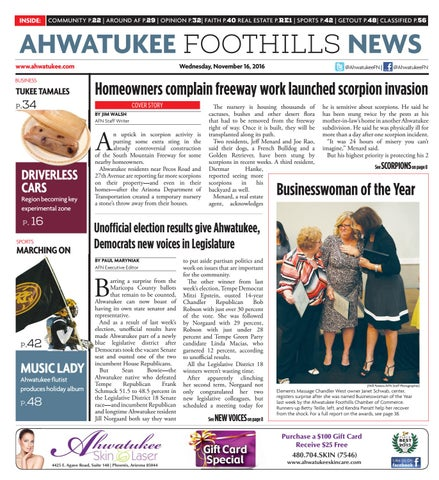 Ahwatukee Foothills News Nov 16 2016 by Times Media Group issuu