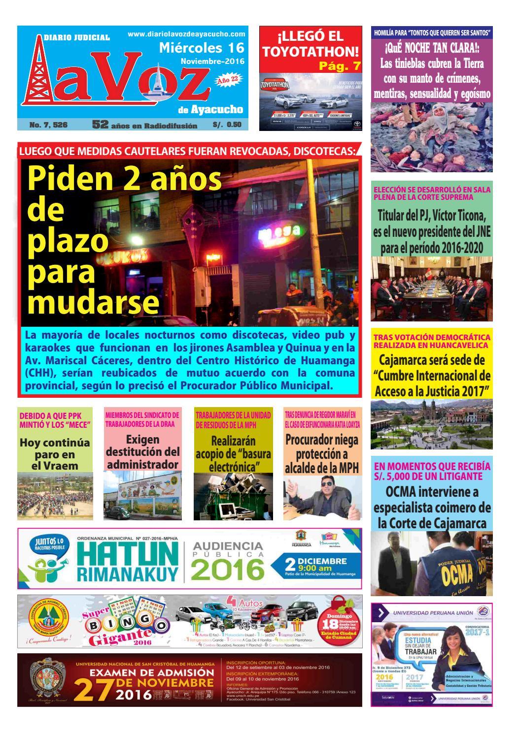 Edicion J 7526 Miercoles 16 Noviembre 2016 By Diario La Voz De  # Muebles Ludena Chimbote