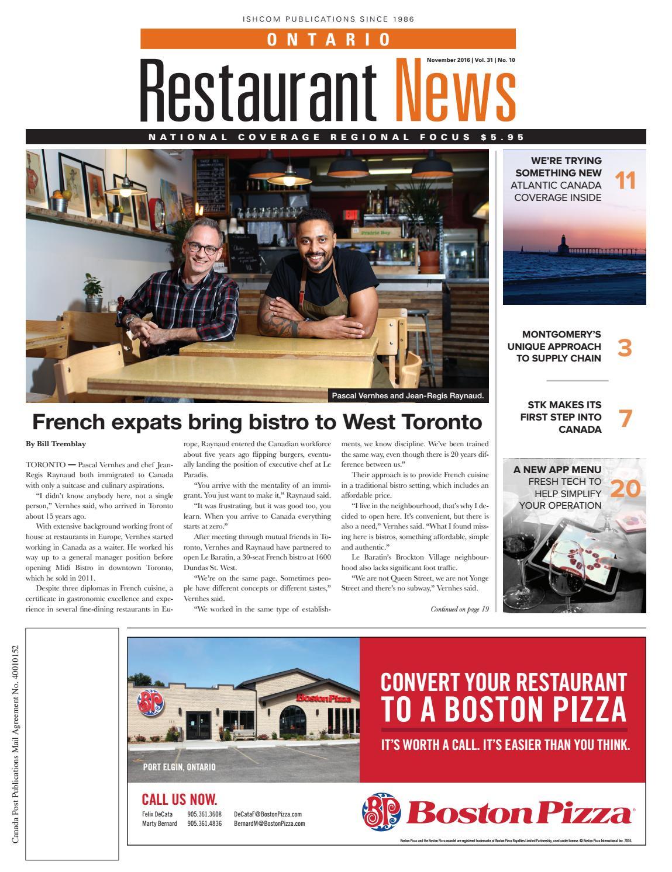Ontario Restaurant News - November 2016 by Ishcom Publications - issuu