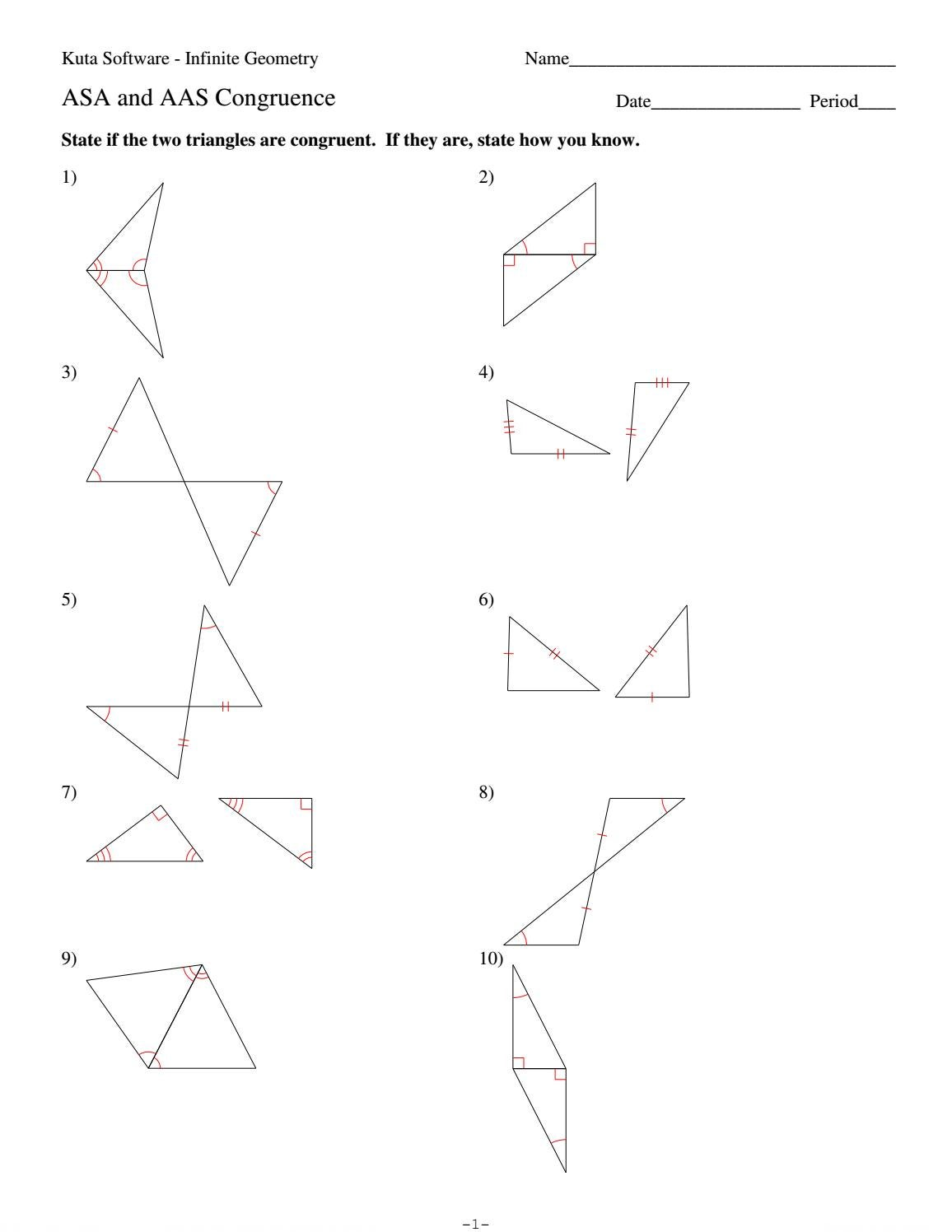24 asa and aas congruence by HHS Geometry - issuu With Congruent Triangles Worksheet With Answer