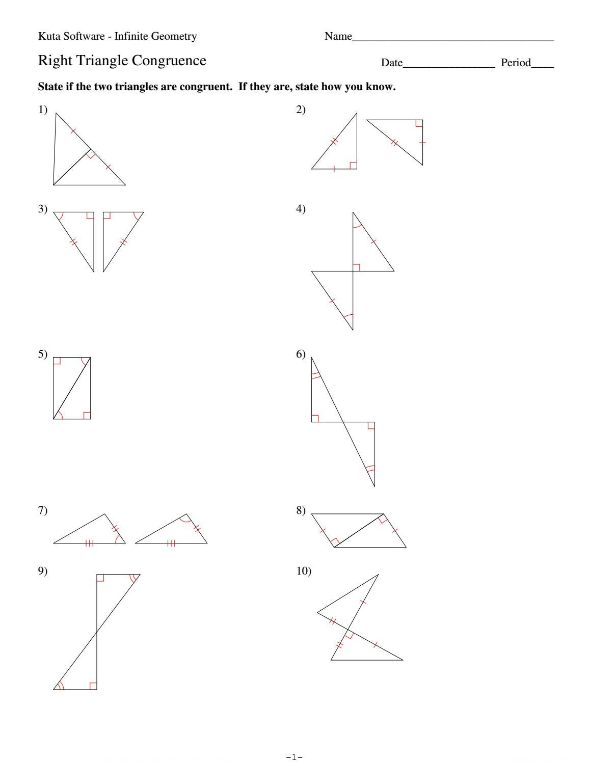 Worksheets Geometry Worksheet Congruent Triangles Answers 4 right triangle congruence by hhs geometry issuu