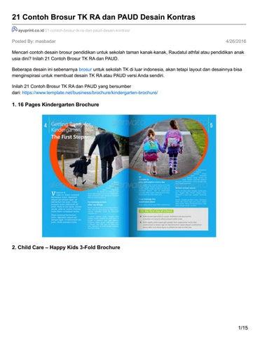 Ayuprint Co Id 21 Contoh Brosur Tk Ra Dan Paud Desain Kontras By