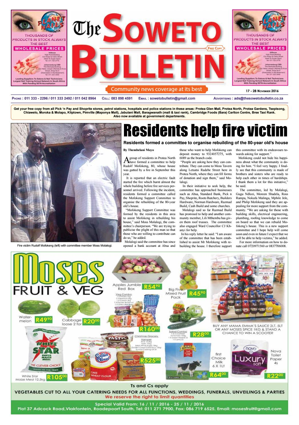 The soweto bulletin 17 28 november 2016 by Localdotcom - issuu