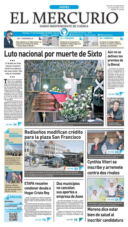 hemeroteca 17-11-2016 by Diario El Mercurio Cuenca - issuu fd6d8de1126