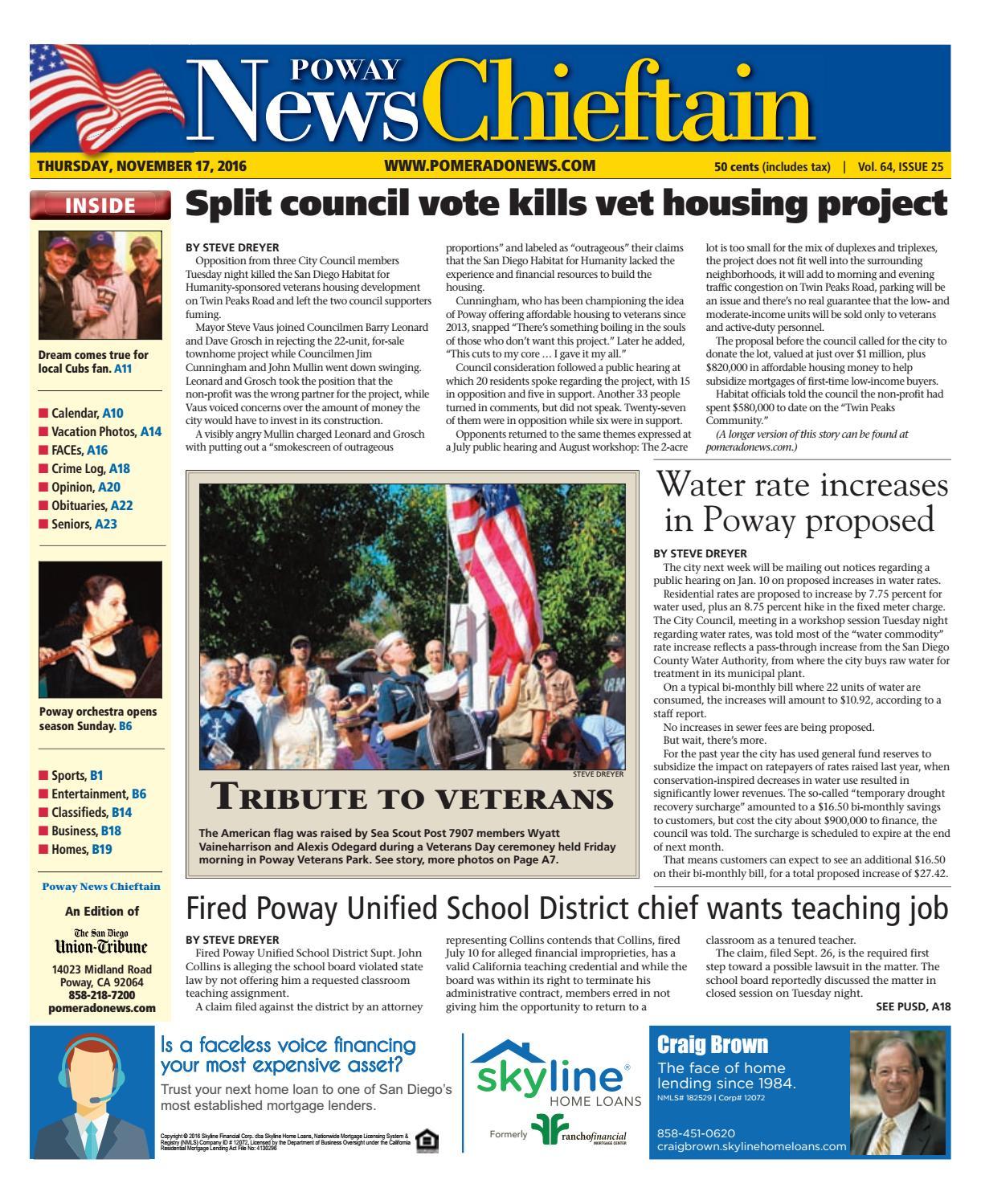 Poway news chieftain 11 17 16 by MainStreet Media - issuu 3e8bd48bd289