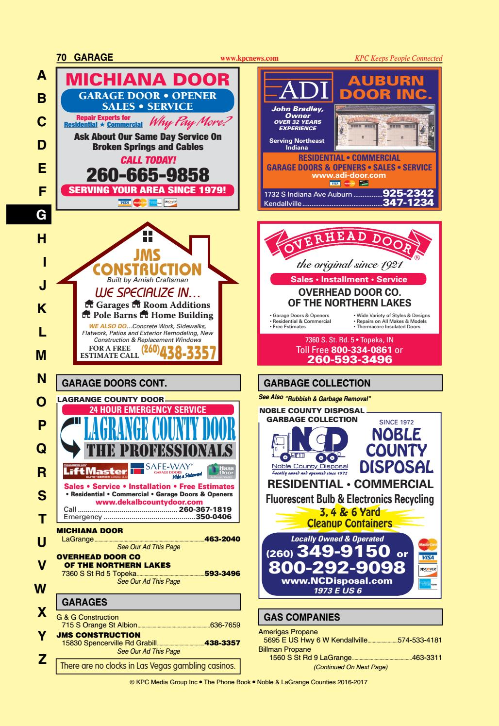 2016 2017 Phone Book Noble And Lagrange Counties By Kpc