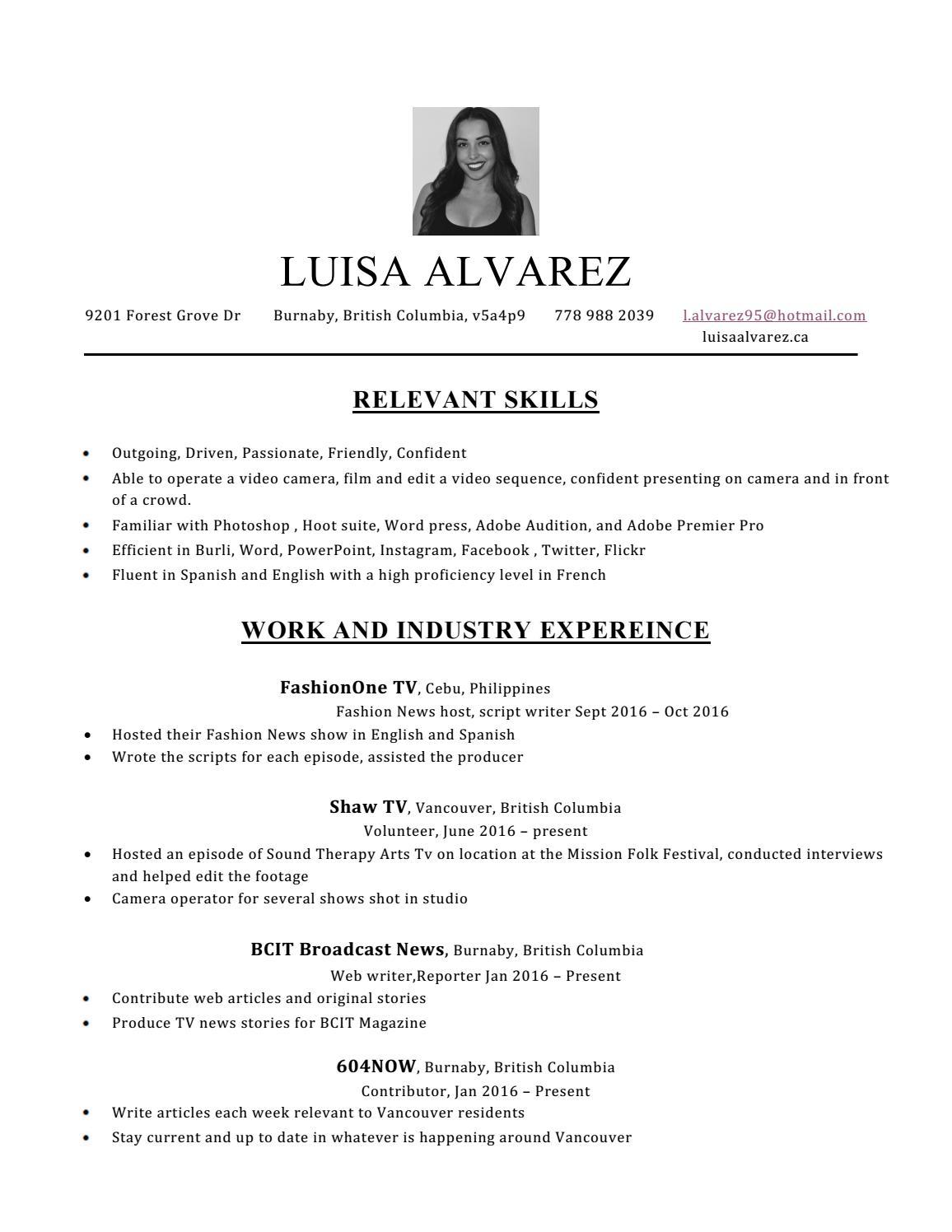 Luisa Alvarez CV 2016 by Luisa Alvarez - issuu