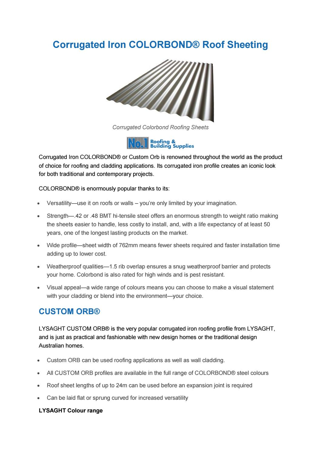 Corrugated Iron Colorbond Sheeting Information Guide by No 1