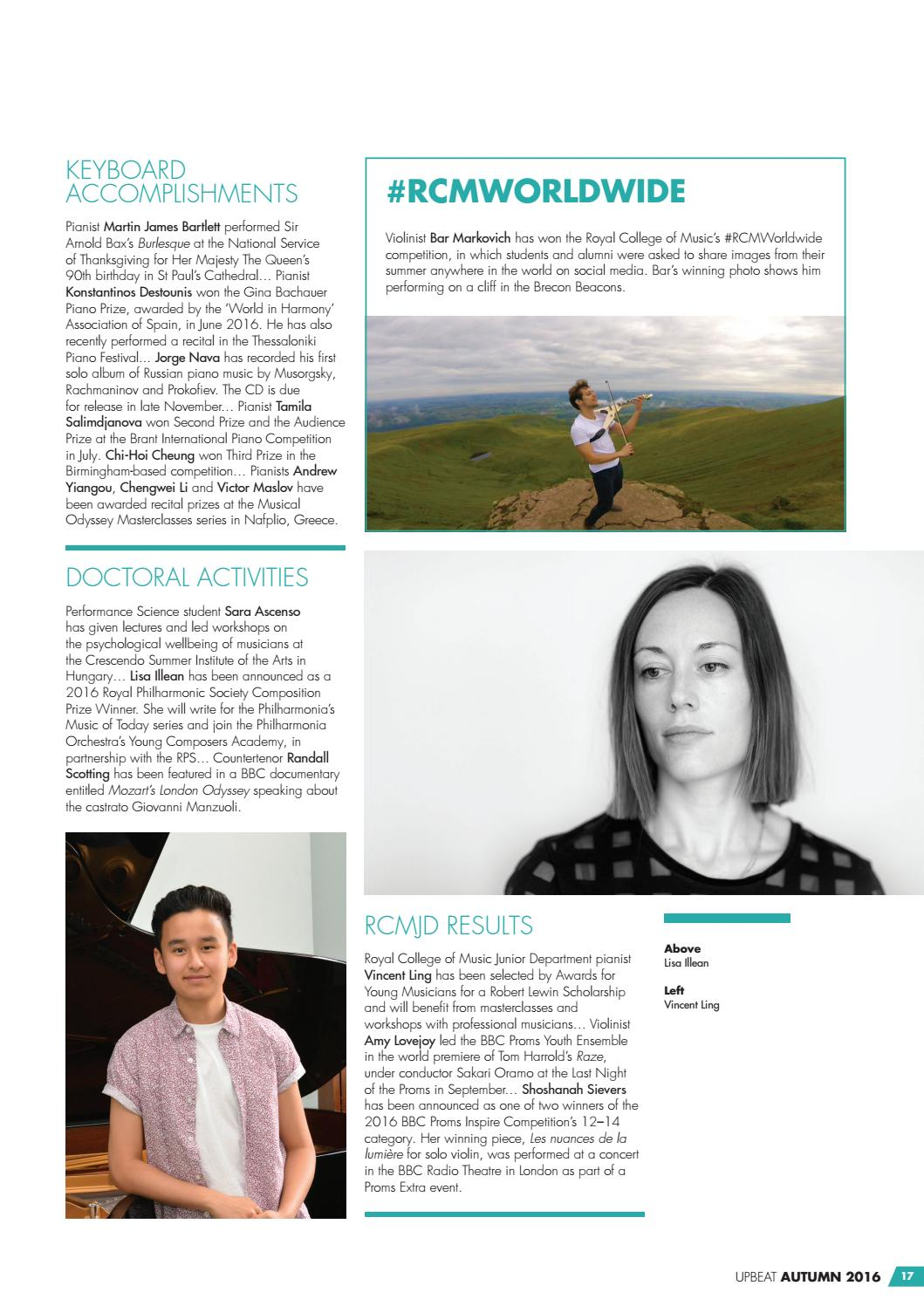 Upbeat Autumn 2016 by Royal College of Music - issuu