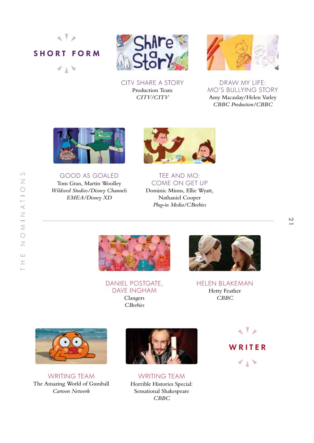 The British Academy Children's Awards in 2016 programme by