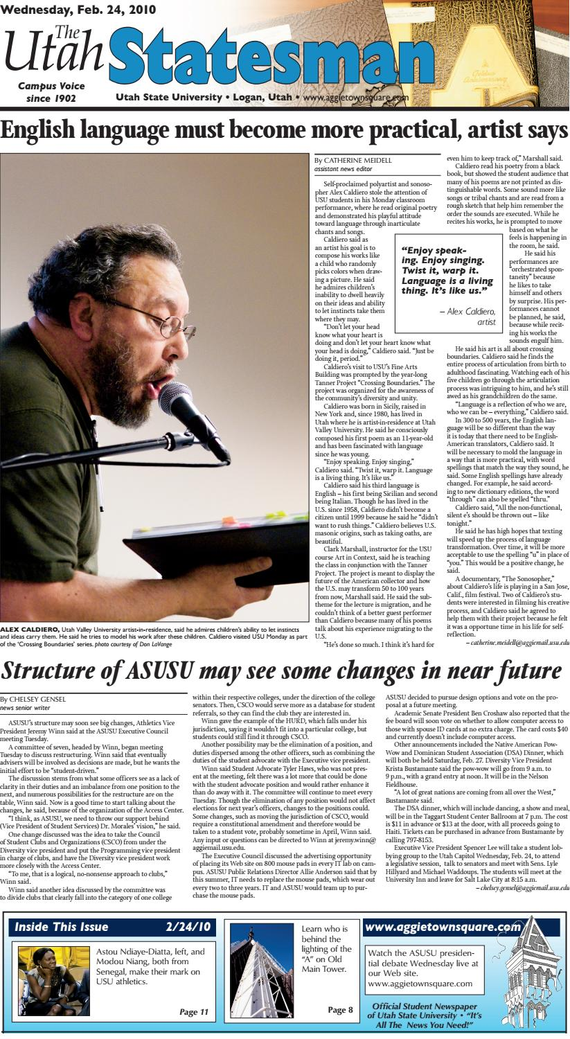 The Utah Statesman February 24 2016 by USU Digital mons issuu