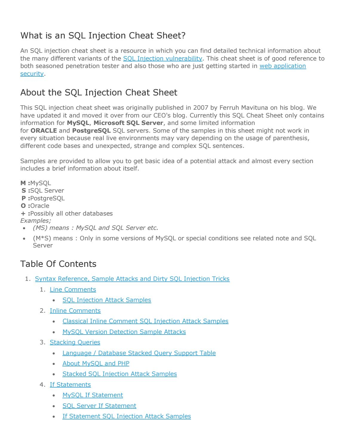 Sql injection cheat sheet by DragoN JAR - issuu