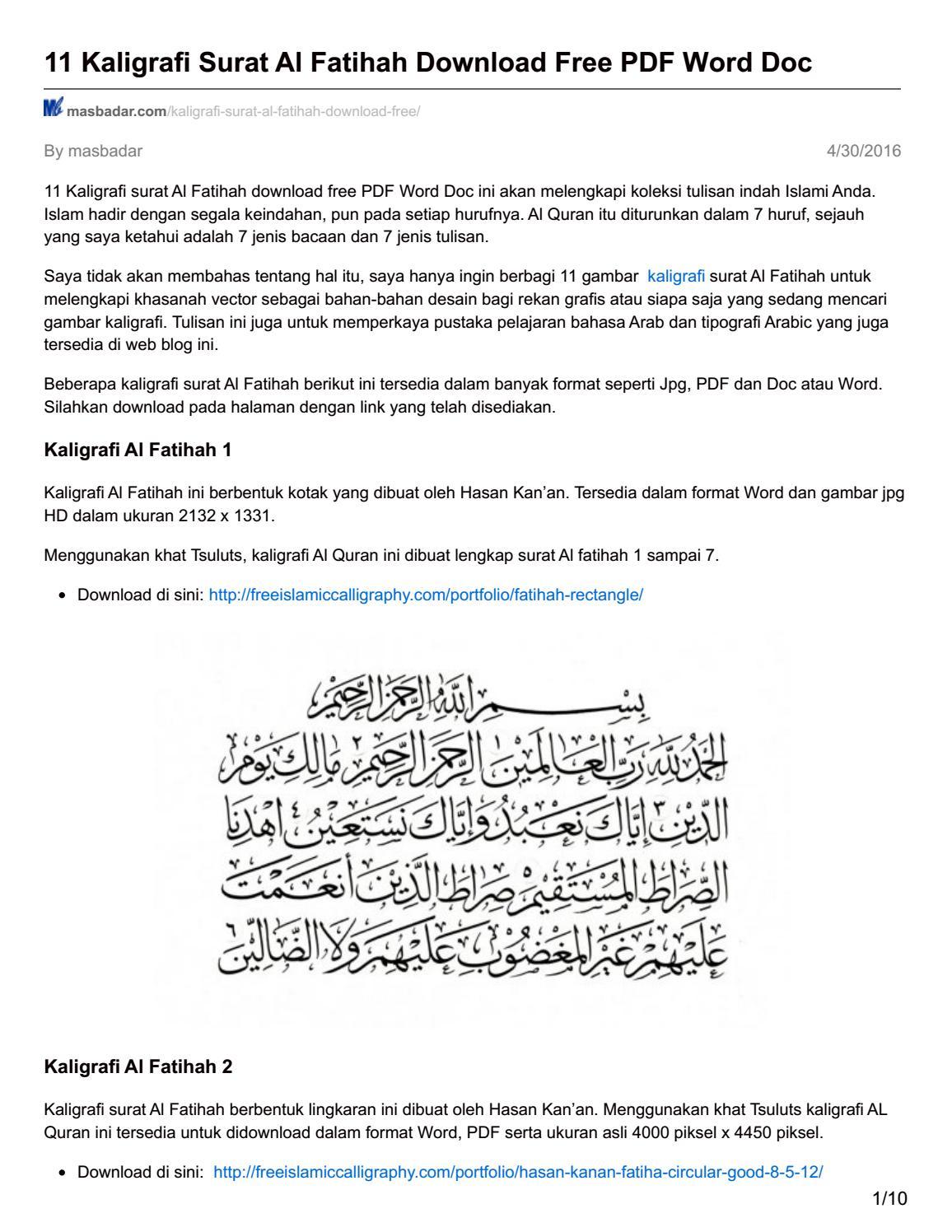 Masbadar Com 11 Kaligrafi Surat Al Fatihah Download Free Pdf Word