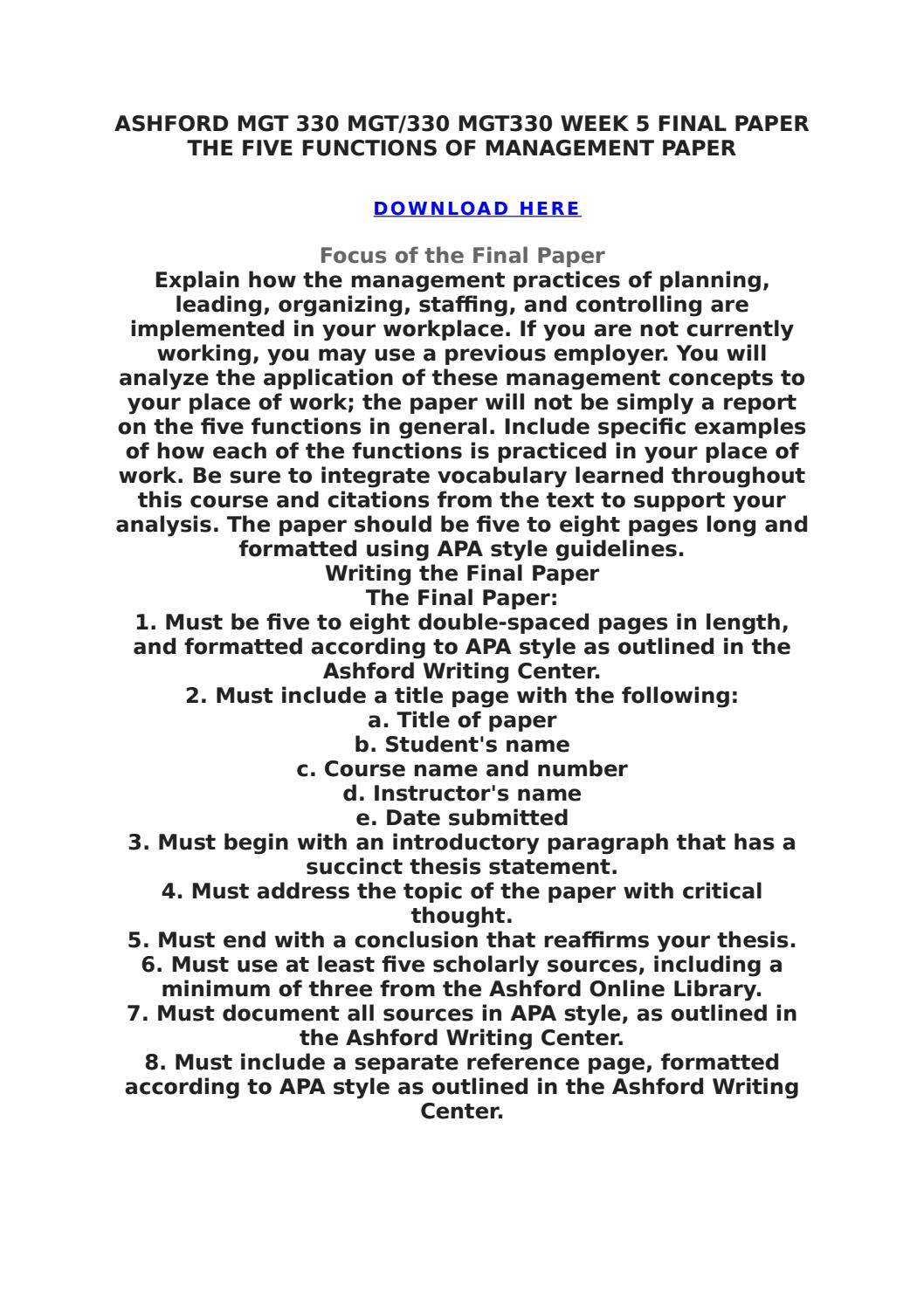 organizing paper mgt 330 Mgt 330 week 4 individual assignment organizing paper this tutorial was purchased 4 times & rated a by student like you select an organization with which you are familiar.