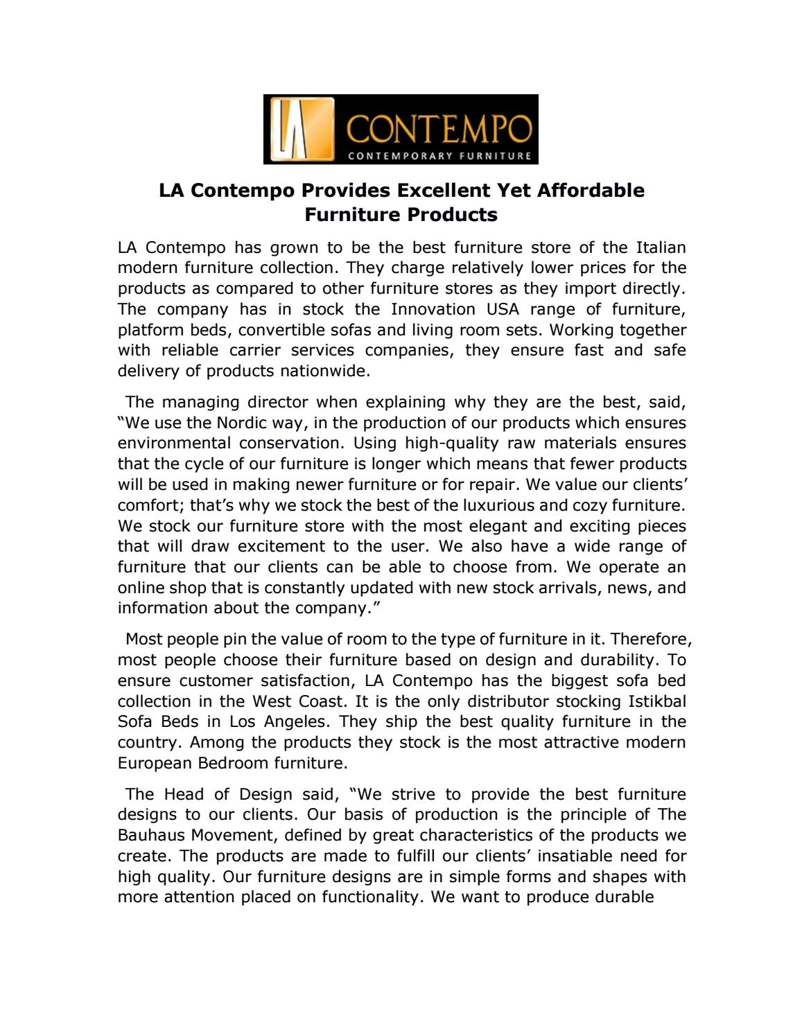 Awesome La Contempo Provides Excellent Yet Affordable Furniture Products By Ensar  Demirkan   Issuu