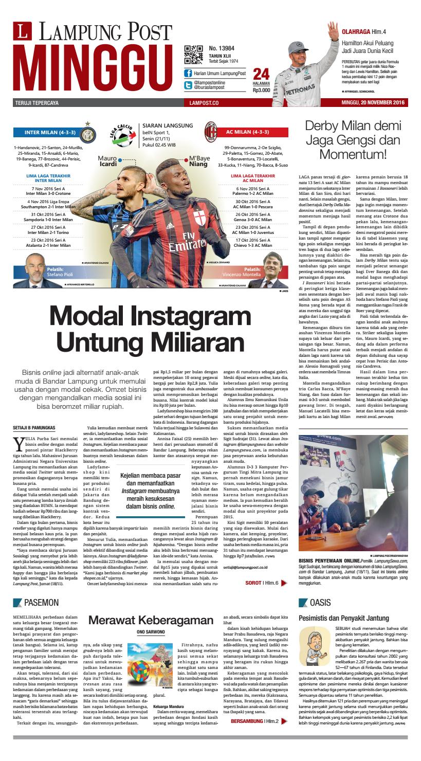 Lampung Post Minggu 20 November 2016 By Lampung Post Issuu