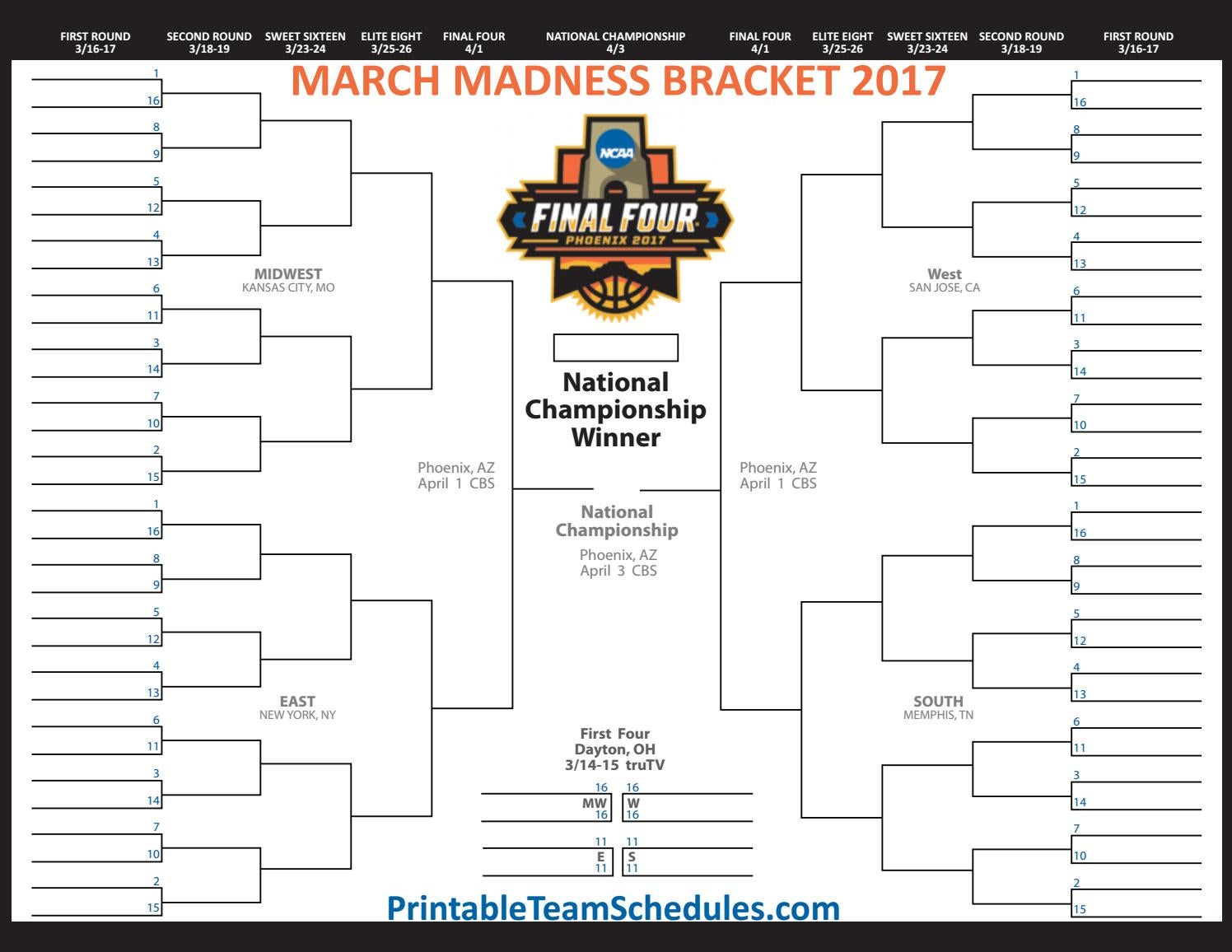 photograph relating to Sweet 16 Printable Bracket identify Printable 2017 NCAA March Insanity Mens Basketball Bracket