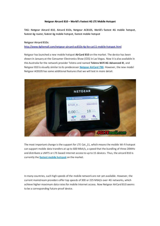 Netgear Aircard 810 – World's Fastest 4G LTE Mobile Hotspot