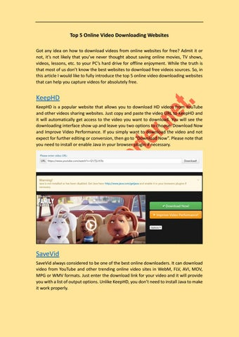 Top 5 online video downloading websites by moraldikson issuu top 5 online video downloading websites got any idea on how to download videos from online websites for free admit it or not its not likely that youve ccuart Images