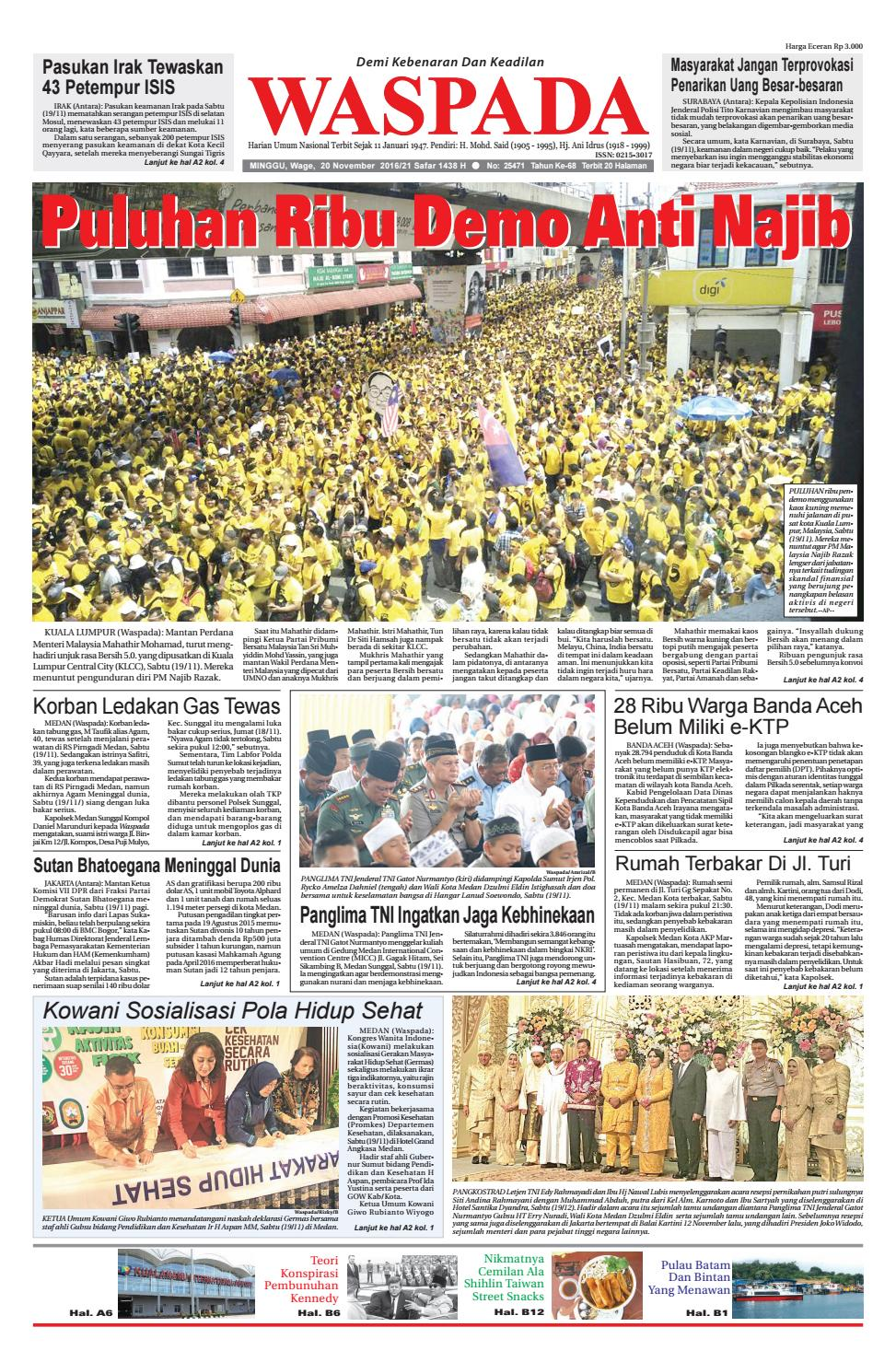 Waspada Minggu 20 November 2016 By Harian Issuu Warior Lc Pendek All Black Sekolah Prsmuka Kerja Santai Main Anak Dewasa