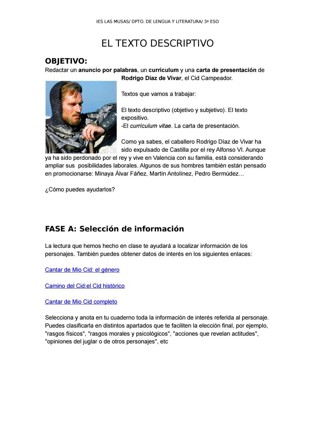 Curriculum y carta de Mio Cid by Carlota Bloom - issuu