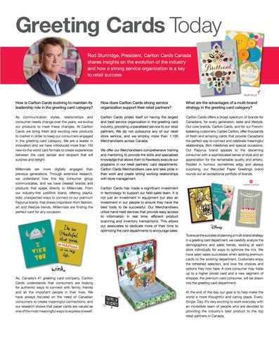 Novemberdecember 2016 by grocery business issuu greeting cards today rod sturtridge president carlton cards canada shares insights on the evolution of the industry and how a strong service organization m4hsunfo