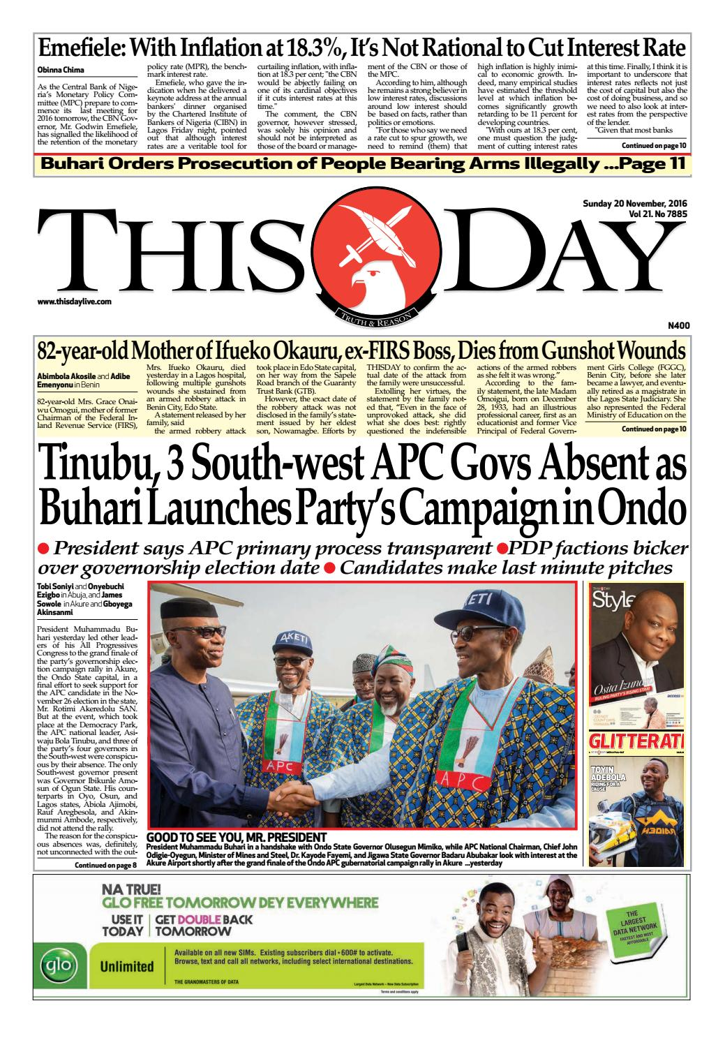 Sunday 20th November 2016 r by THISDAY Newspapers Ltd - issuu