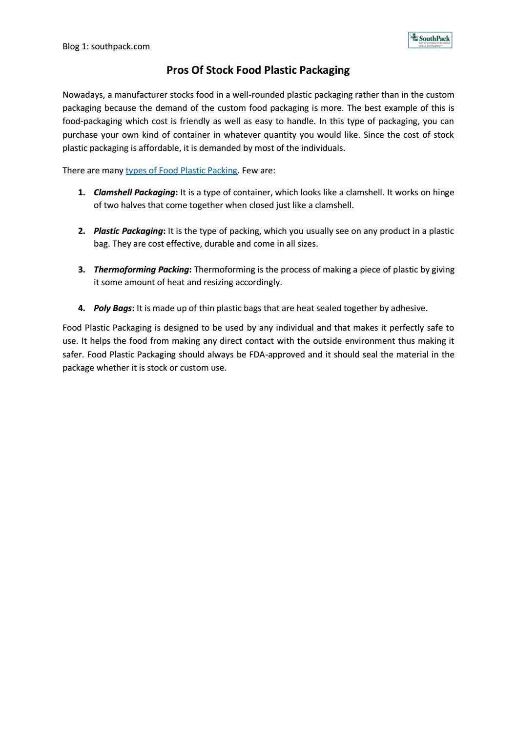 Pros of stock food plastic packaging by SouthPack, LLC - issuu