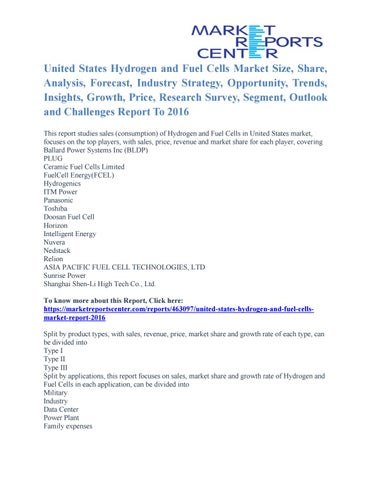 United States Hydrogen and Fuel Cells Market Business Outlook and
