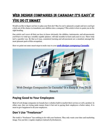Web design companies in canada it's easy if you do it smart