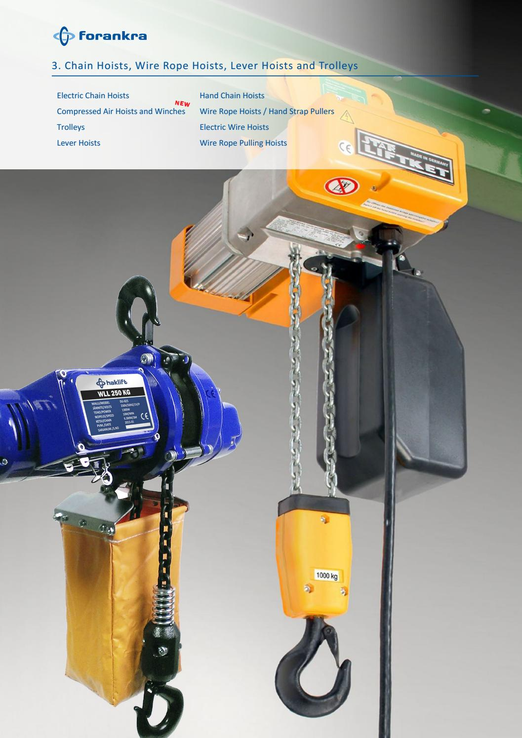 3 chain hoists , trolleys , wire rope hoists , hand pullers by ...