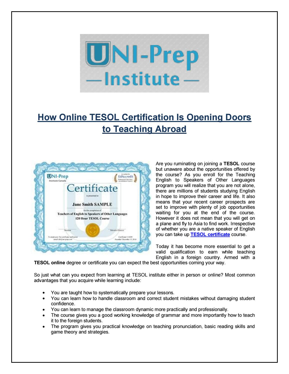 How online tesol certification is opening doors to teaching abroad how online tesol certification is opening doors to teaching abroad by uniprep issuu 1betcityfo Image collections