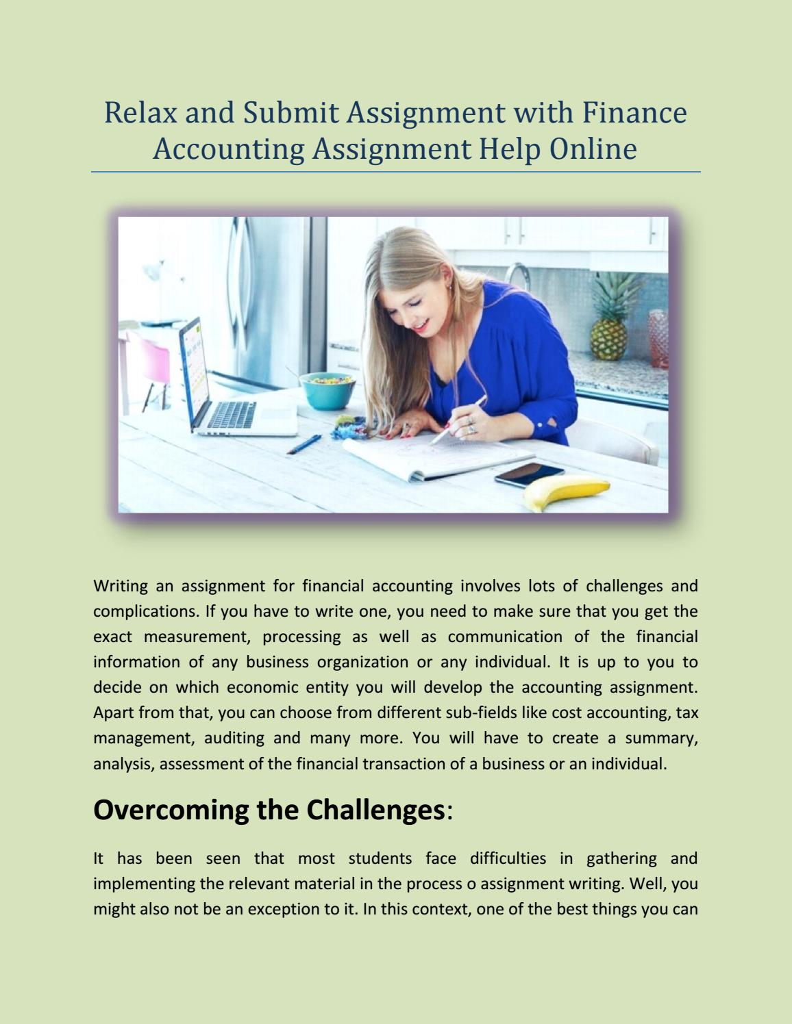 relax and submit assignment finance accounting assignment relax and submit assignment finance accounting assignment help online by ratnesh kumar issuu