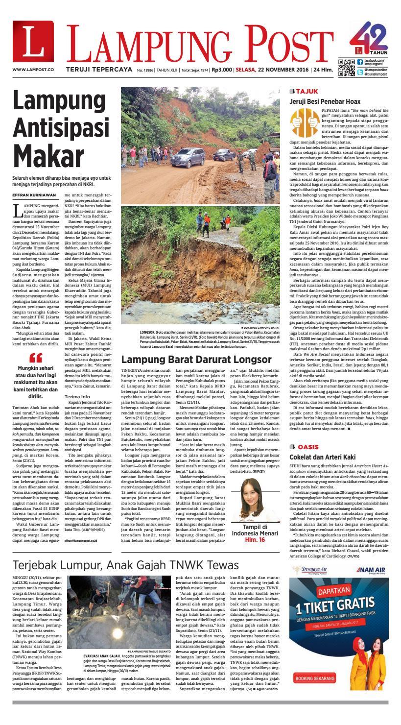 Lampung Post Selasa 22 November 2016 By Issuu Produk Umkm Bumn Kapal Batok Lebak