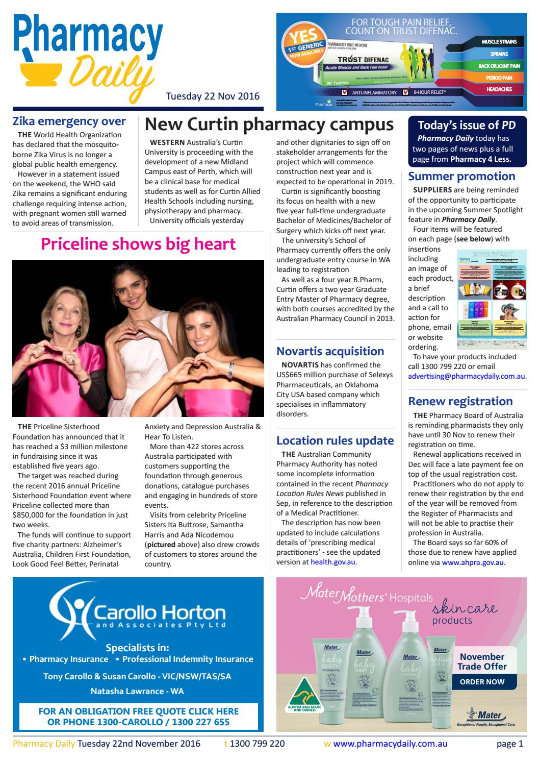 PD for Tue 22 Nov 2016 - Curtin Pharmacy, SHPA workforce paper