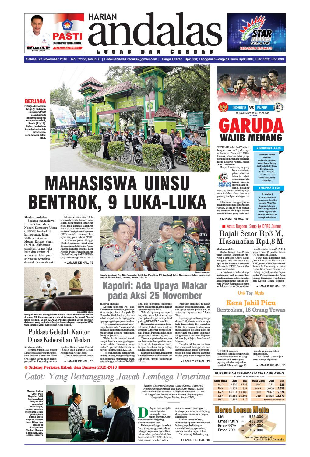 Epaper Andalas Edisi Selasa 22 November 2016 By Media Andalas Issuu