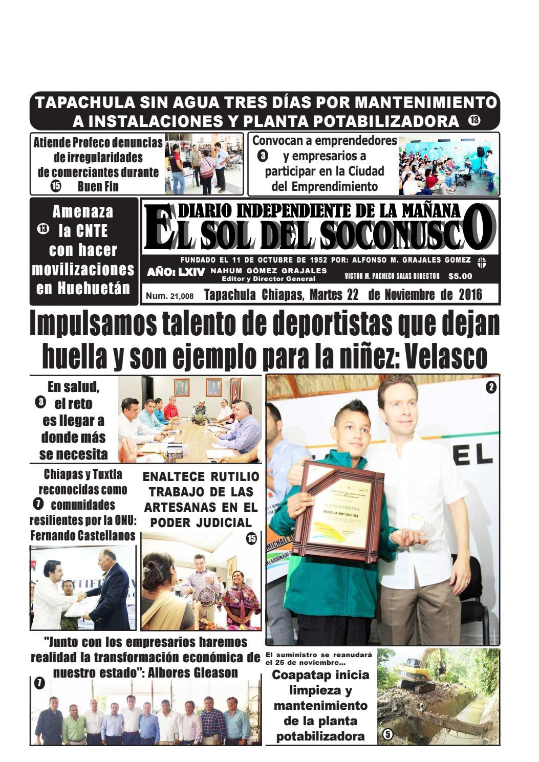 Periodico el sol del soconusco 22 11 16 by Periódico \