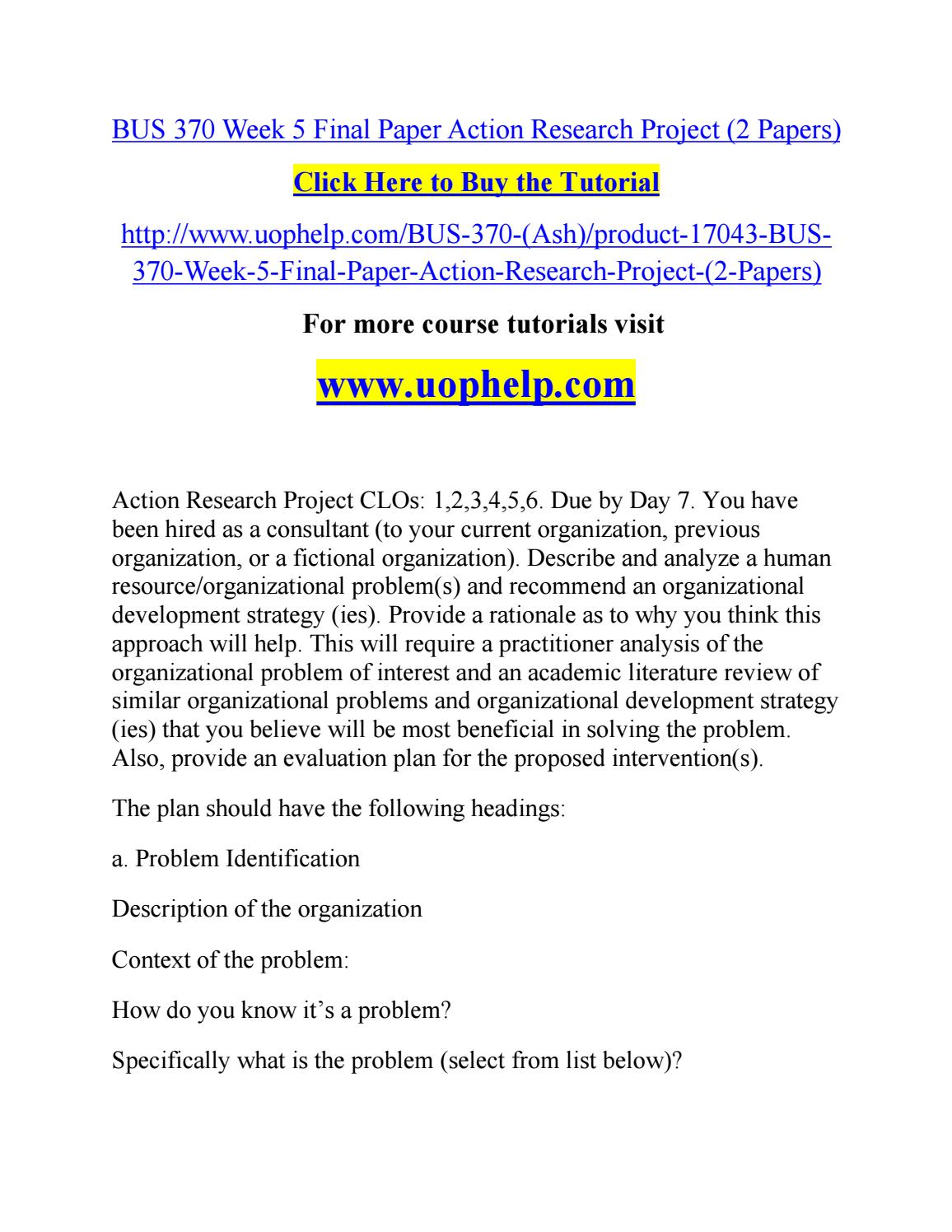 action research project papers