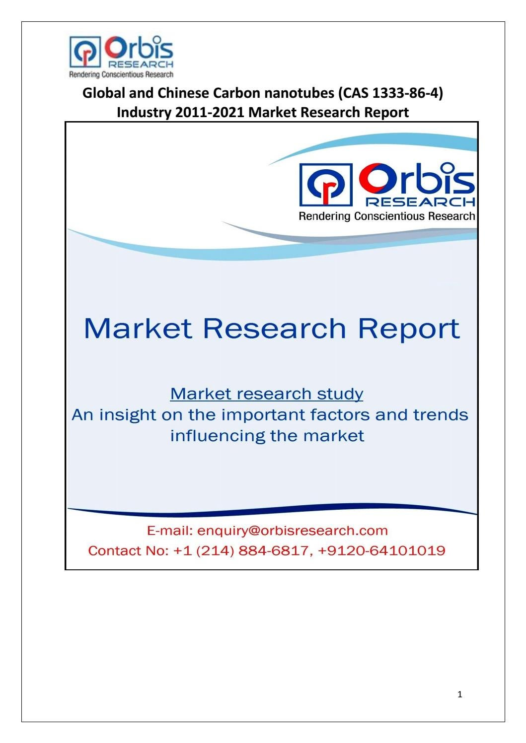 Carbon nanotubes (CAS 1333-86-4) Market Globally and in