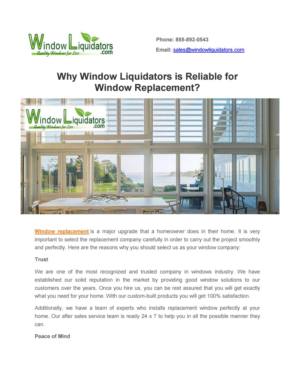 Why window liquidators is reliable for window replacement by
