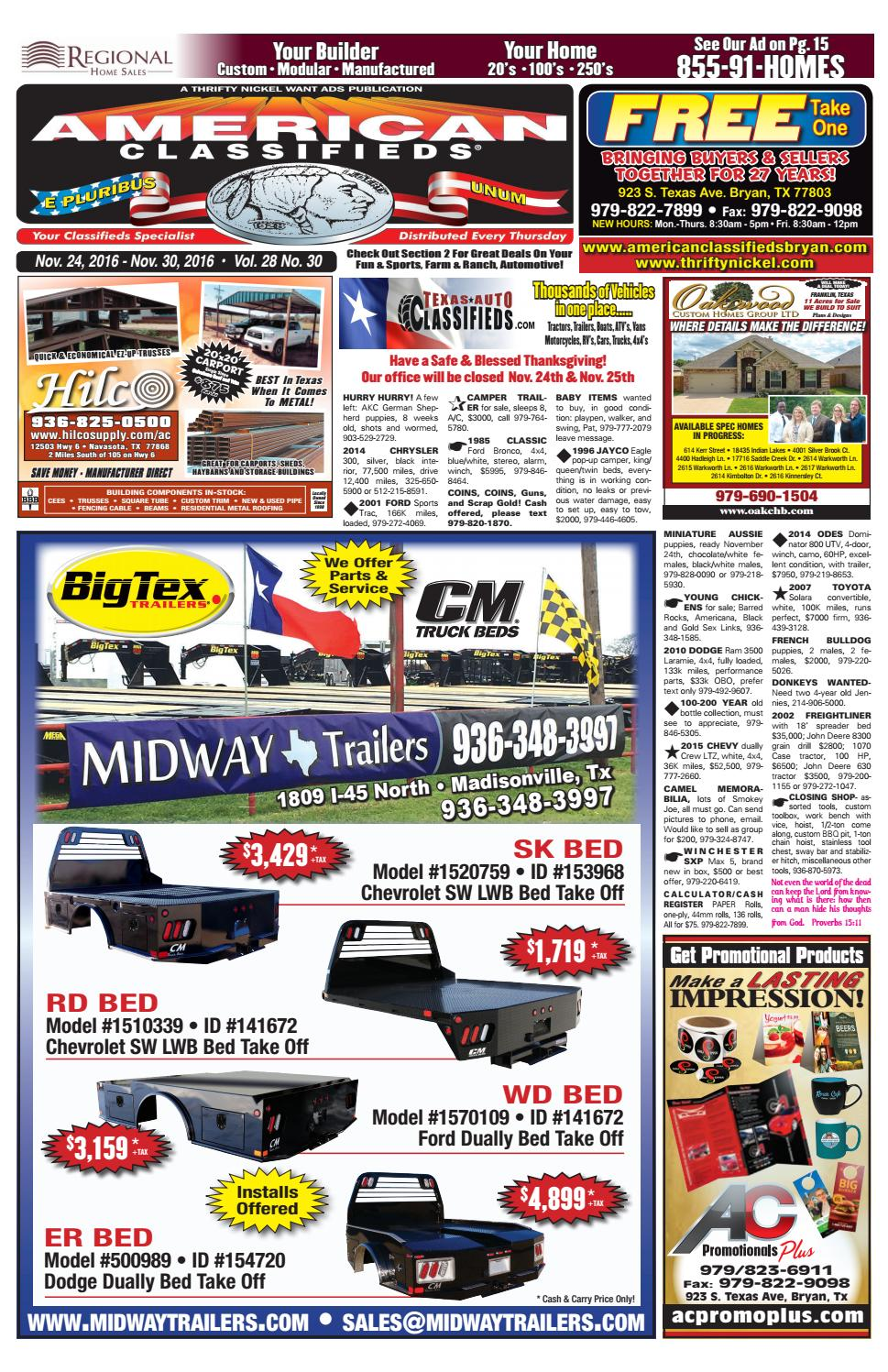 American Classifieds Nov  24th Edition Bryan/College Station