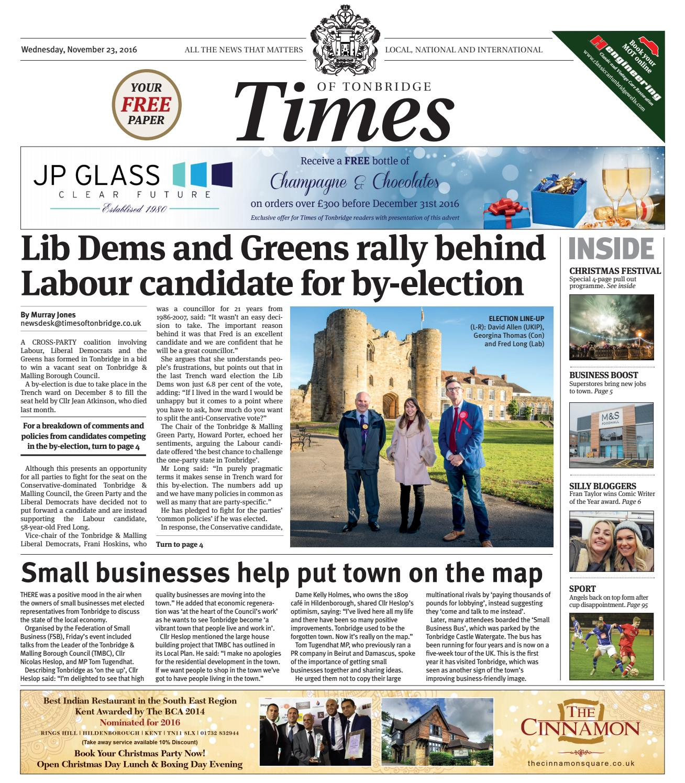 Times of Tonbridge - 23rd November 2016 by One Media - issuu