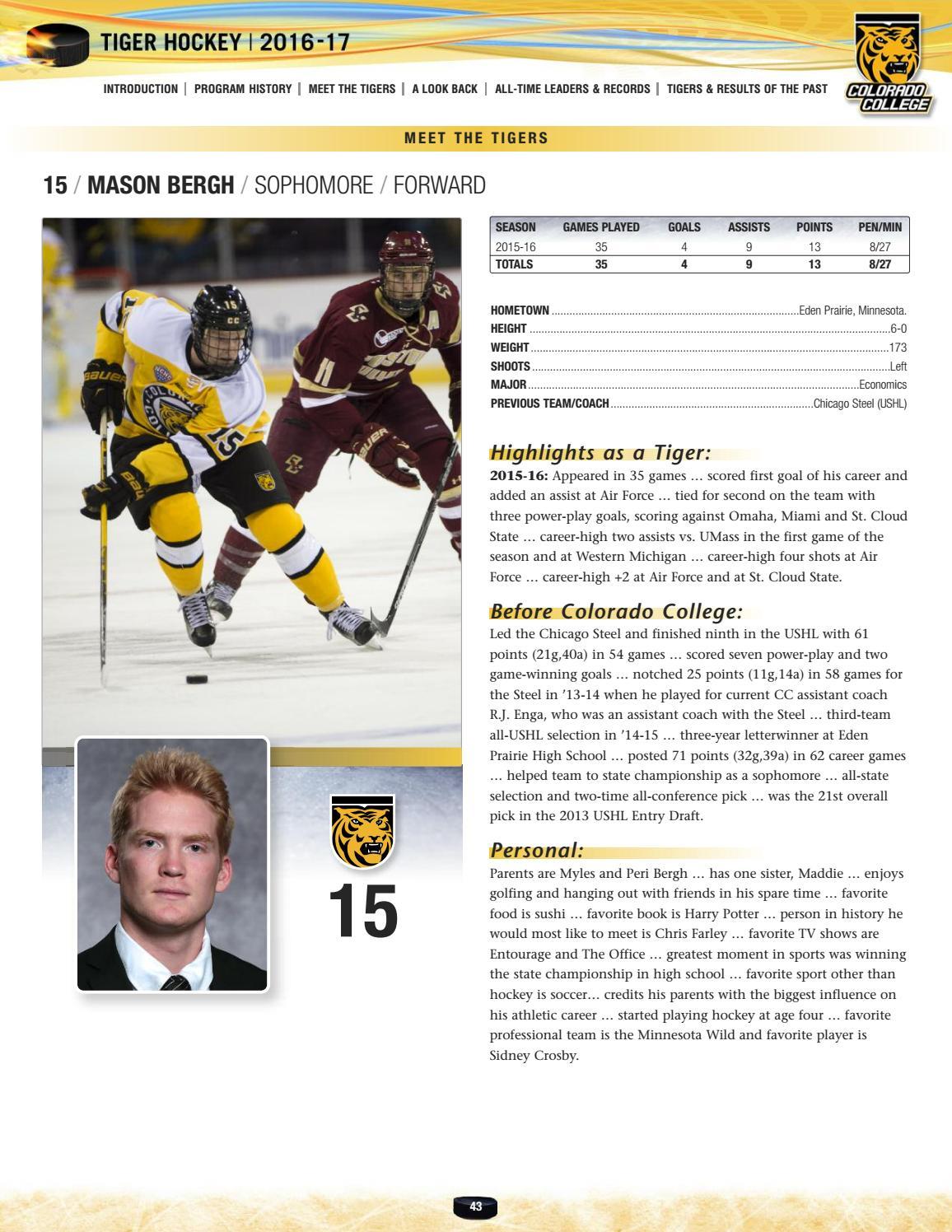 Colorado College | Tiger Hockey Media Guide 2016-17 by